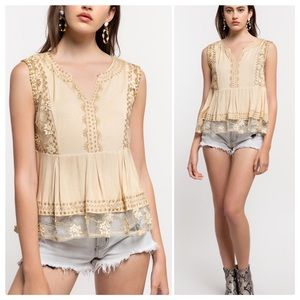 Bailey Embroidered Babydoll Top